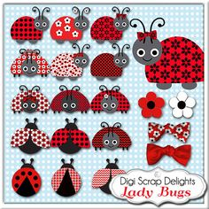 Lady Bugs Clip Art  in Red and Black for Digital Scrapbooking, Card Making, Backgrounds, Instant Download
