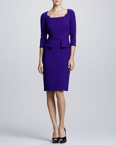 3/4-Sleeve Belted Peplum Dress by David Meister at Neiman Marcus.