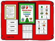 LMN Tree: Kwanzaa, Christmas, and Hanukkah: Free Resources, Crafts, and Activities: Free December holiday Syllable Sort! December Holidays, School Holidays, Winter Holidays, Christmas Activities, Christmas Crafts, Kindergarten Christmas, Christmas Hanukkah, Christmas Ideas, Kindergarten Units