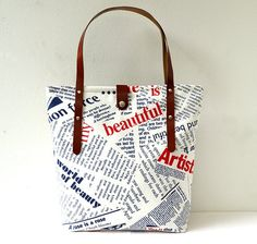 Newspaper Printed Fabric and Leather Tote Bag - Beach, School, Diaper Bag, Book or Magazine Tote, Navy White Red Letters, Nautical Theme