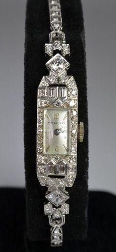 Platinum and Diamond Tiffany Ladies Watch Art Deco Jewelry, Fine Jewelry, Jewelry Design, Antique Watches, Vintage Watches, Antique Jewelry, Vintage Jewelry, Art Deco Watch, Beautiful Watches