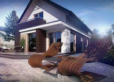 Z296 - to elegancka propozycja współczesnego domu parterowego z poddaszem użytkowym. #domowy #domowypl #nowydom #nowoczesnydom #domzpoddaszem #malydom #domdlanas #naszdom #taras
