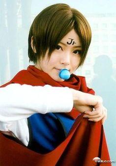 body writing brown hair cape cosplay crossplay facepaint koenma pacifier scarf shirt shorts yuyu hakusho   Idol Complex - Idol & cosplay images