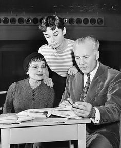 Audrey Hepburn, Anita Loos and Director Raymond Rouleau Rehearsing Gigi 1951