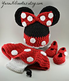 Minnie Mouse Inspired Crochet Infant Newborn Baby Toddler Photography Prop Photo Prop Red Pink Shower Gift via Etsy