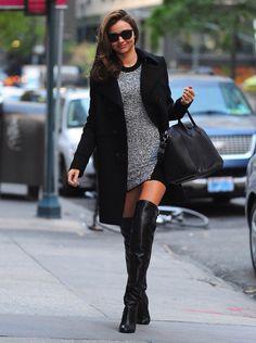 b34f7ce0c63 Miranda Kerr Alexander Wang knit dress Givenchy black coat (to match her  Antigona tote