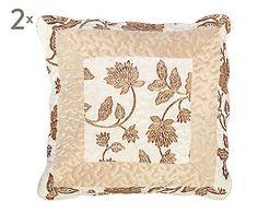 Set de 2 fundas de cojín, crema y marrón II - 45x45 cm