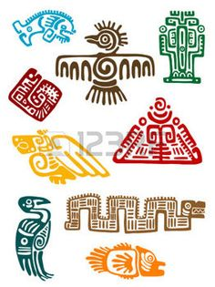 mexicain: Monstres anciens Mayas ensemble de la conception religieuse. Vector illustatin