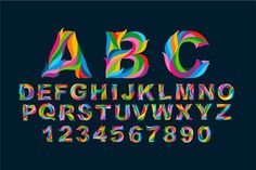 Full Color Alphabet + Numbers Vector by weer on @creativemarket
