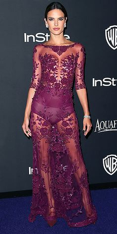 And speaking of stars who'd like to remind you about their rockin' bods, here's Alessandra in a Zuhair Murad gown and ...