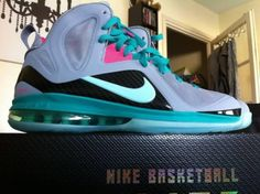 Nike LeBron James 9 GS Elite Miami Vice south beach LightGrey/Jade/Pink Basketball shoes