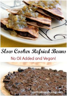 You have to try these ridiculously easy to make slow cooker refried beans. They are even vegan and have no added oil!