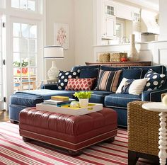 Color inspiration for the den, navy couch..white and rattan accents