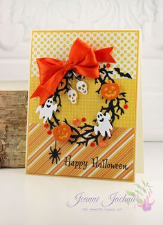 """Jeanne Jachna: A Kept Life: """"Halloween Wreath - Fusion Card Challenge"""" - 10/15/15. (Serendipity Stamps: Happy Halloween. Serendipity Dies: Twig Wreath)."""