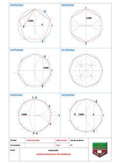 POLÍGONOS INSCRITOS EN CIRCUNFERENCIAS – Blog de Educación Plástica y Visual Sacred Geometry Patterns, Basic Geometry, Geometry Shape, Geometry Art, Geometric Drawing, Mandala Drawing, Isometric Drawing Exercises, Lotus Flower Art, Divine Proportion