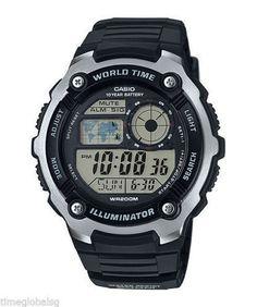 86adaf0960ff Casio AE2100W-1A Brand New Mens World Time Digital Blk Resin Alarm Sport  Watch Acero