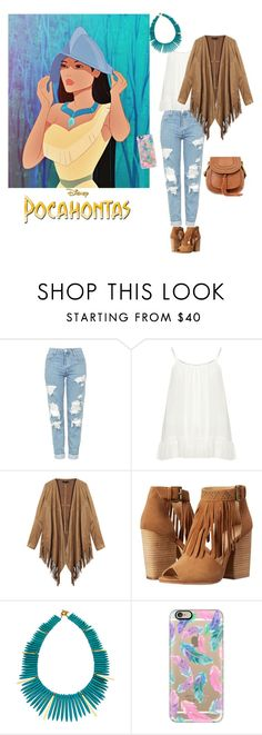 """""""Go to Style : Inspired by Pocahontas"""" by dawn-sbh ❤ liked on Polyvore featuring Topshop, Zizzi, Chinese Laundry, Janna Conner Designs, Casetify, ootd, pocahontas and Gotostyle"""
