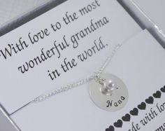 Hand Stamped Nana Necklace, Personalized Necklace for Nana, Necklace for Grandma with Pearl, Birthday Gift for Grandma, Best Grandma, Nana