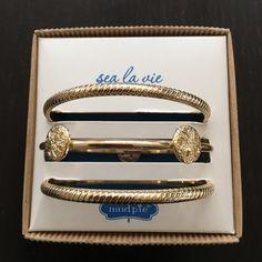 Mud Pie Shiny Gold Metal Bangle Set. Mud Pie sea la vie shiny gold bangles set. Mud Pie Jewelry Bracelets