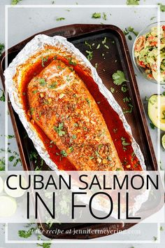 Gorgeous salmon marinated in a blend of Cuban inspired spices and baked in foil for a quick flavorful dinner for any day of the week! Delicious Salmon Recipes, Baked Salmon Recipes, Sushi Recipes, Cuban Recipes, Top Recipes, Seafood Recipes, Healthy Dinner Recipes, Cooking Recipes, Drink Recipes