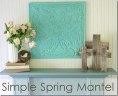 Beautiful Spring/Easter Mantel Decor from theshabbycreekcottage.com
