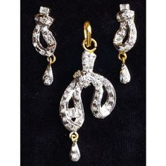 CZ and crystal studded silver & gold plated pendent set  - Online Shopping for Pendants by Ami Designs