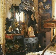 Eclectic Bedrooms to bring out the Gypsy in you... a little cluttered, but so dreamy and inspirational #hippie #dresser #bedroom