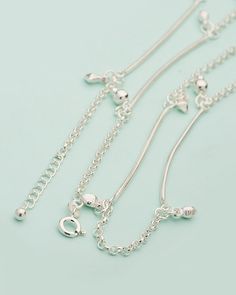 Sterling Silver Anklets Dangled With Lovely Charms