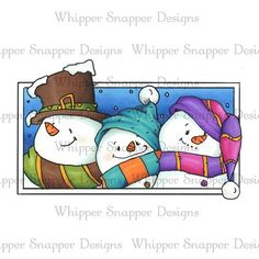 Snowman Triplets by Whipper Snapper. Love the colors Christmas Rock, Christmas Signs, Christmas Snowman, Christmas Crafts, Christmas Decorations, Christmas Ornaments, Xmas, Watercolor Christmas Cards, Christmas Drawing