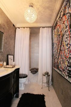 Love the double shower curtain!  Greg's Dashing Uptown Home House Tour | Apartment Therapy