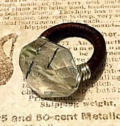 Quartz Crystal Leather Wire Wrapped Ring Womens by ShaulaDesign