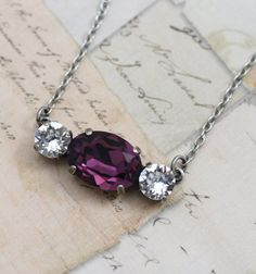 Purple Necklace Amethyst Silver Oval by VintageStyleBridal on Etsy