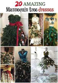 21 amazing mannequin tree dresses shared by the Grillo Designs Home Decorating, upcycling and diy group members!