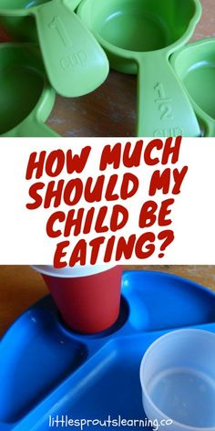 """How much should my child be eating? Many times we think kids aren't eating """"anything"""" when they are eating the appropriate portion sizes for their age. Find out what appropriate portion sizes for young kids really are."""