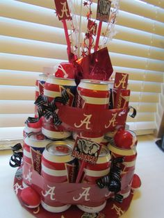 Alabama Football Beer Cake I would use a diferent beverage to replace the beer :)