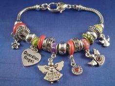 pandora bracelet charms   Pandora Inspired Guardian Angel Charm Bracelet, Heart, Flower, CZ ...