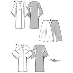 Completo orientale: kimono / pantalone, Burda 3044 Self Tissu, Style Japonais, Duster Coat, Kimono, Womens Fashion, Sewing, Coiffure Chignon, Bricolage, Hook And Loop Fastener