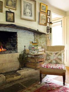 kitchen fireplace with cosy chair