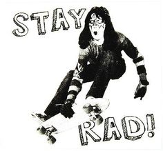 "Stay Rad """"Space Man"""" decal - 4"""" X 4"""" - WHITE/BLACK"