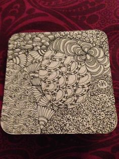 Zentangle tile, trying out some patterns