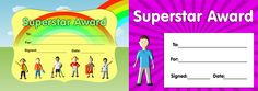 Download our twin pack of 'Superstar Award' certificates. www.teachingessentials.co.uk/store.html