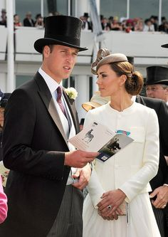 Derby chic with Prince William and the Duchess of Cambridge. Yes to all the above. Love the top hat!