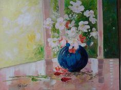 Kay Pratt - Morning Flowers - 16 x 20 - Acrylic on Canvas (Framed)