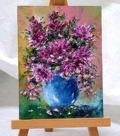 Garden Flowers  39 3x4 includes easel original by valdasfineart
