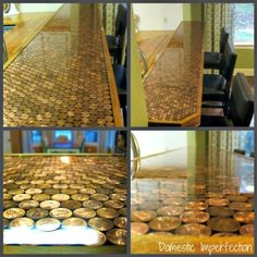DIY Penny Countertop Tutorial. You could use this tutorial for bottle caps, coins, etc… on damaged tables tops using epoxy. What is good about this tutorial is that all the project mistakes are listed to, saving you from making the same ones. Tutorial from Domestic Imperfection here.