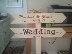 Outdoor Wedding sign...made for my cousins wedding. 2 - 1x6 boards cut into arrows, nailed to a 1x6 cut in half to make a 1x3.