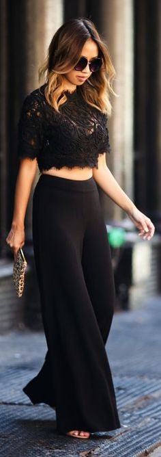 Lace & Locks Everything Black Wide Leg Pants Fall Inspo Women apparel…
