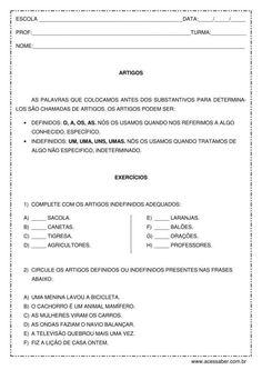 Exercício de português: Artigos - 4º ou 5º ano Portuguese Lessons, Quito, Nara, Dice, Lp, Language Activities, Abc Centers, Article Grammar, Common And Proper Nouns