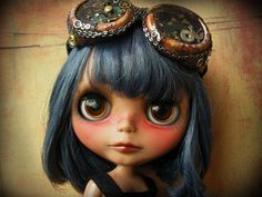 steampunk blue-haired baby