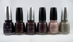 China Glaze Grape Crush, Mink Frost, Dusk, Lavender Lynx, Lush Lavender and Orchid Shadow